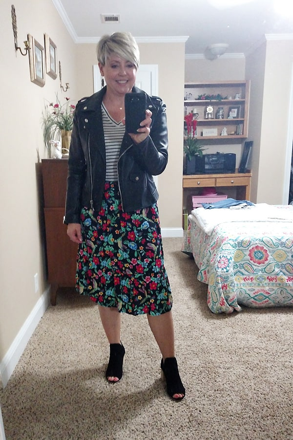 moto jacket and skirt outfit