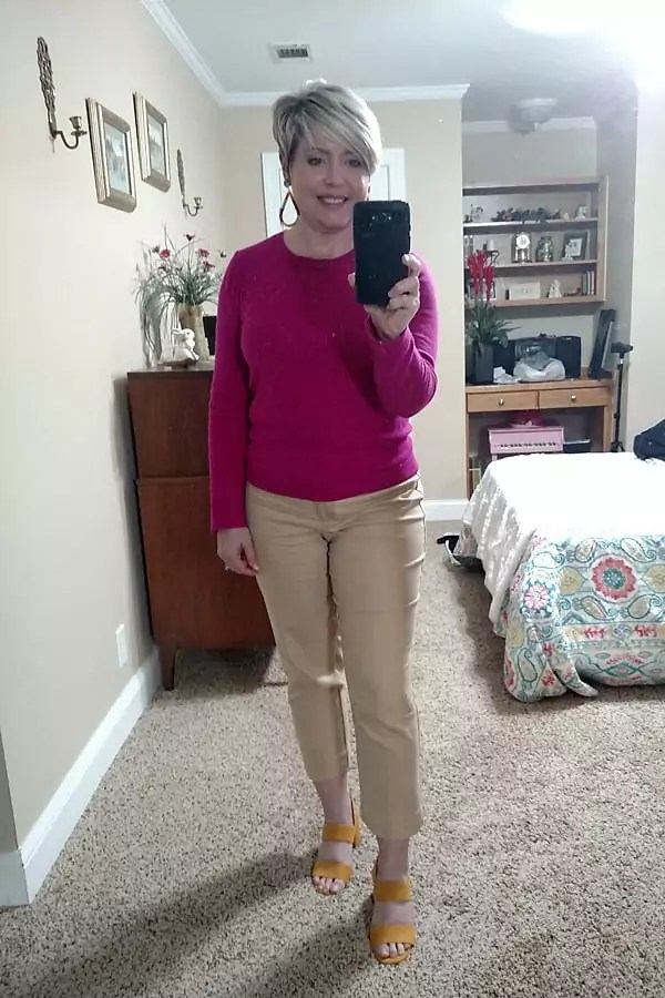 bright sweater with khaki pants spring outfit/ work from home outfit
