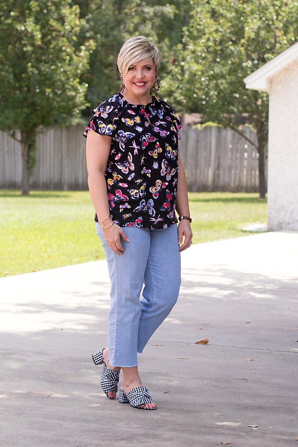 ruffle neck and sleeve butterfly top