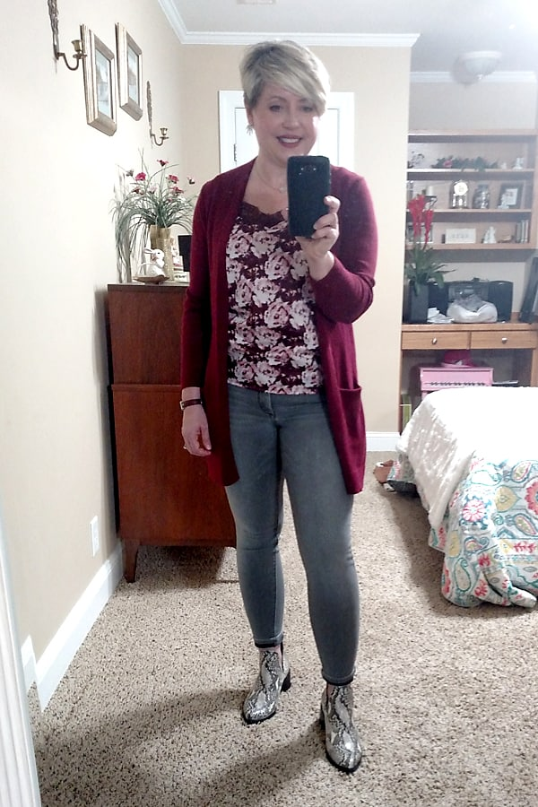 cardigan and floral camisole