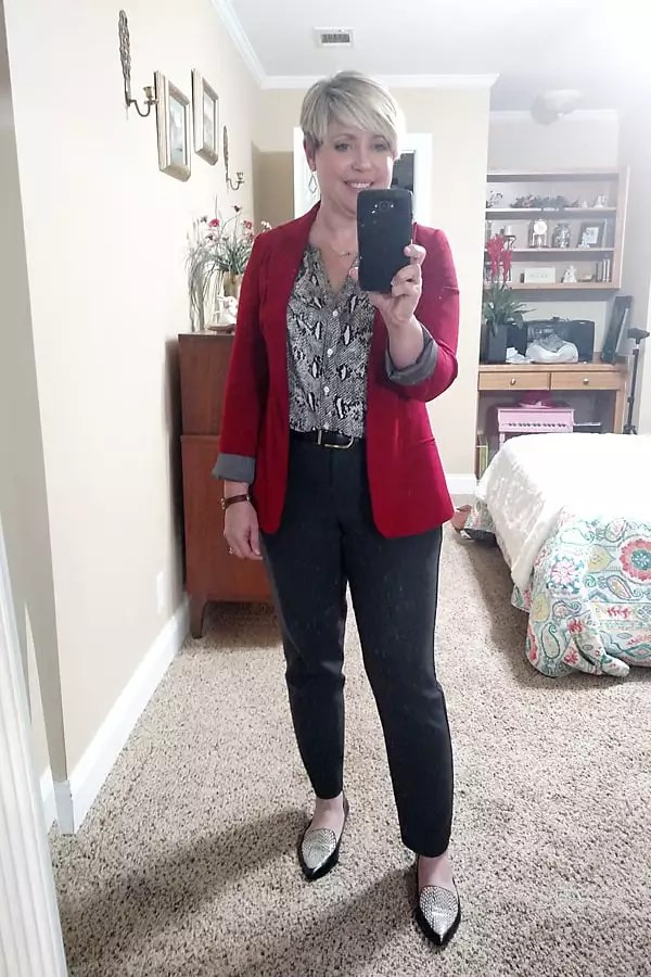 snakeskin top with red blazer