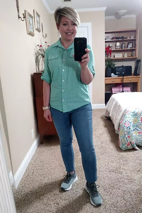 gingham shirt and jeans