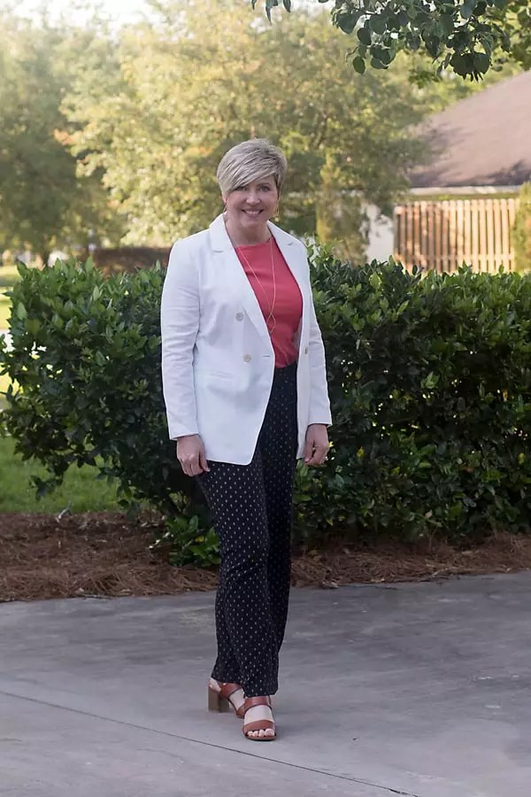 white blazer and soft pants outfit