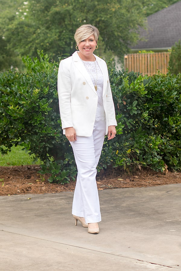 all white office outfit for summer