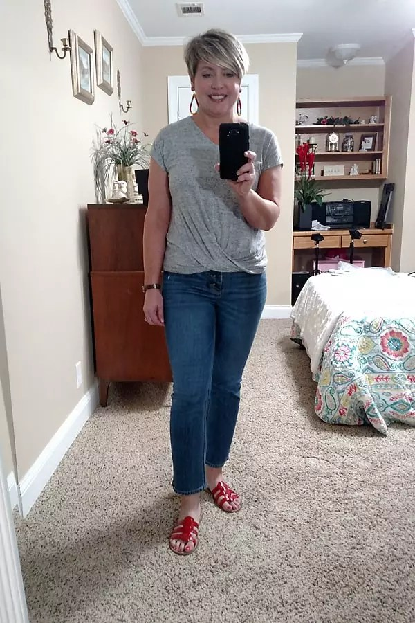 summer work from home jeans outfit