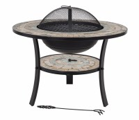 Mosaic Firepit with BBQ Grill and Table Insert - savvysurf ...
