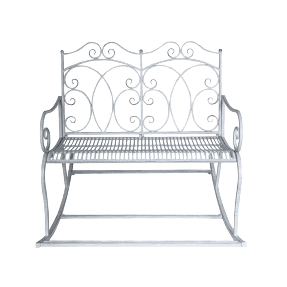 Double Rocking Chair Bench in Antique grey