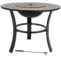 Mosaic Tiled Firepit with BBQ Grill and Table Insert