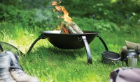 Steel Camping Fire Pit BBQ with Folding Legs FREE BAG