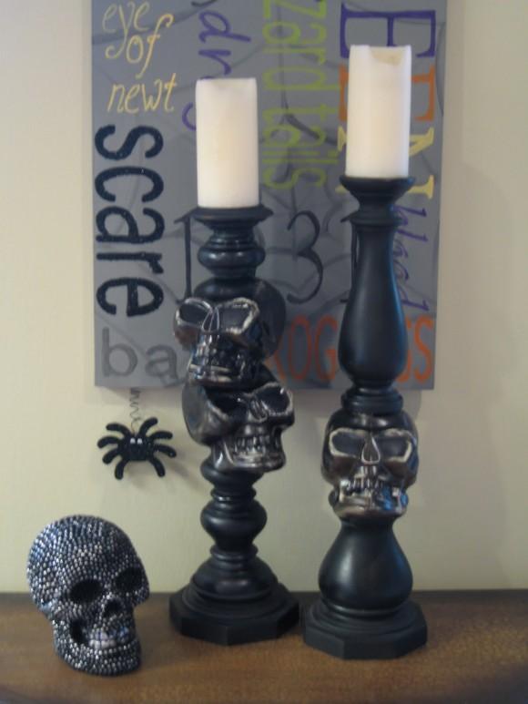 $5 diy skull candlesticks