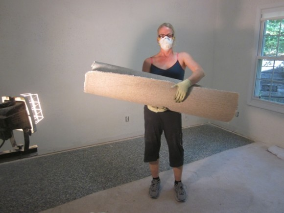 Removing carpet in a bedroom