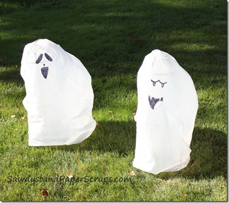 trash bag Halloween ghosts