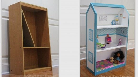 Turn a bookcase into a dollhouse before and after