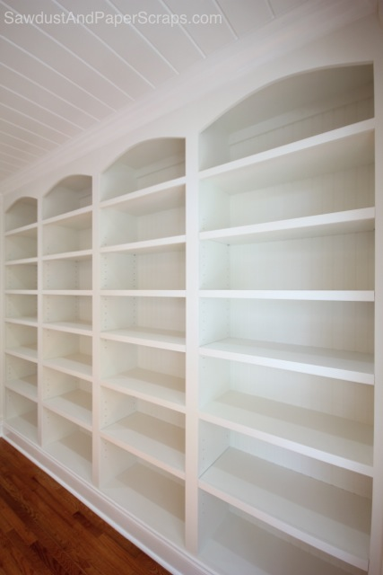 DIY Library with White Built-ins and Wainscoting