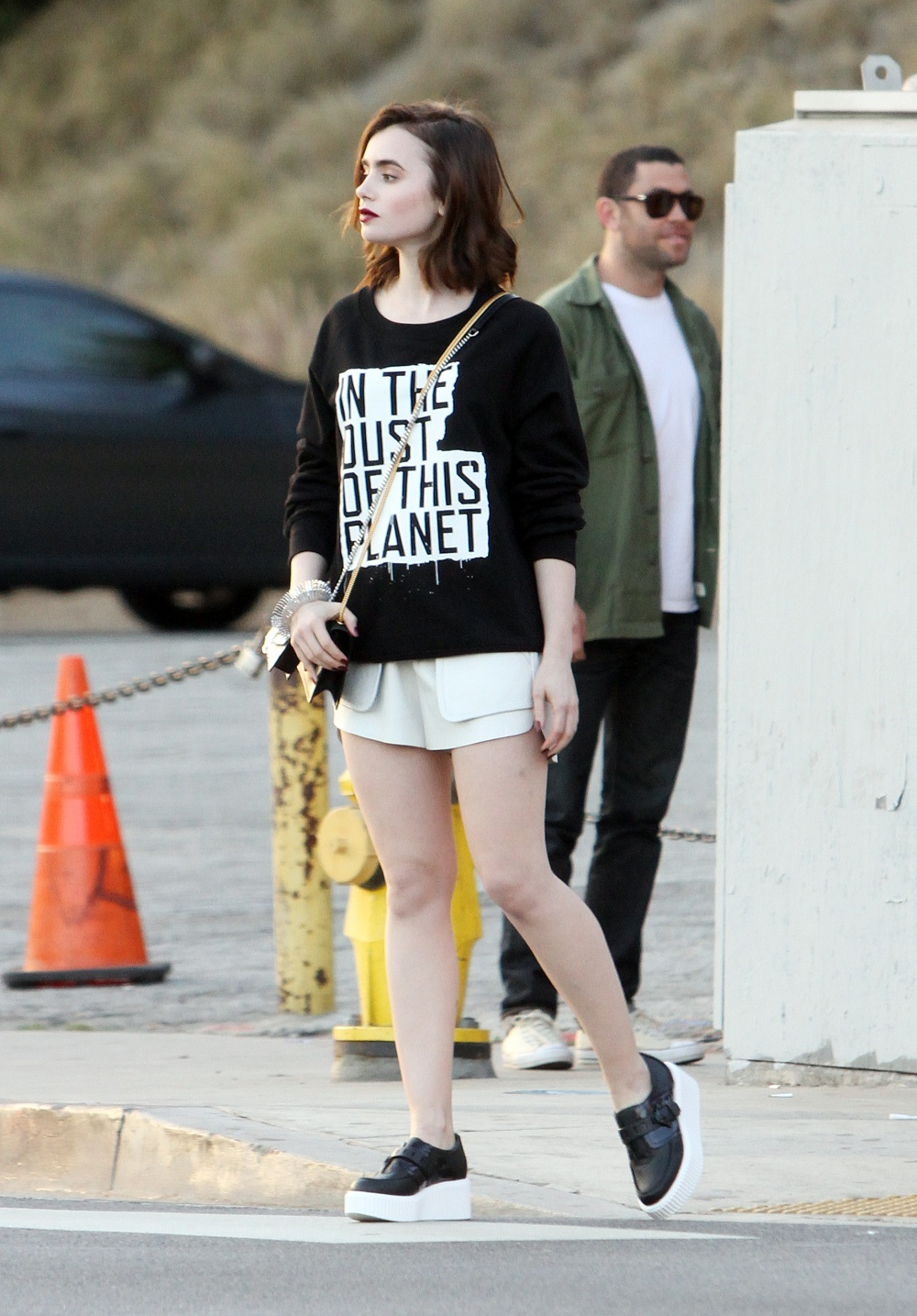 Exclusive Lily Collins Goes Gothic In Los Angeles Sporting Dark Red Lips Her Famously Thick