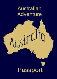 Australian Adventure Passport - Blue with a golden map of Australia