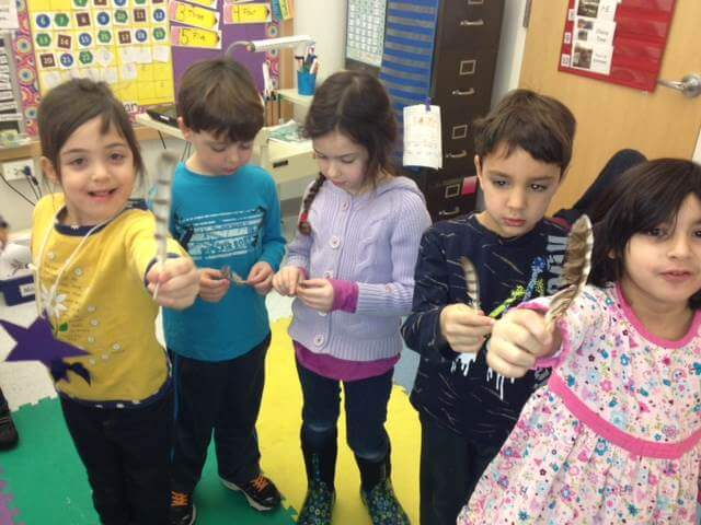 Classroom program exploring birds and their feathers. Photo: SMRA/Pat Mutolo