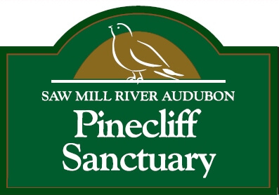 Entrance sign for Pinecliff Sanctuary at the end of Pinecliff Road in the Town of New Castle.