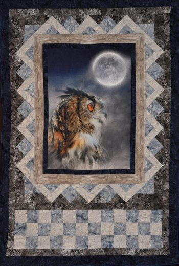 """2021 Birding Quilt, """"Owl de Lune,"""" was designed and quilted by SMRA Board Member Jean Sparacin. Click image for larger view."""