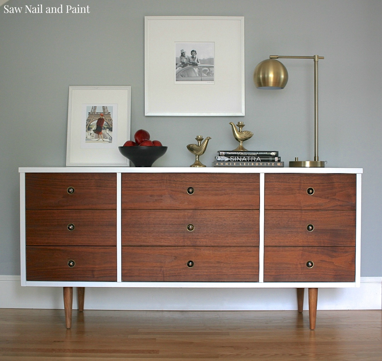 Bassett Mid Century Dresser Makeover Saw Nail And Paint
