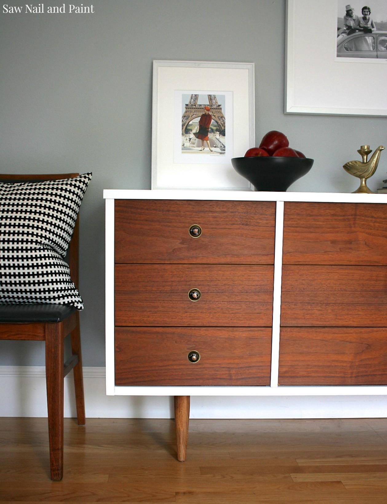 bassett mid century dresser makeover  saw nail and paint - bassett mid century dresser close up