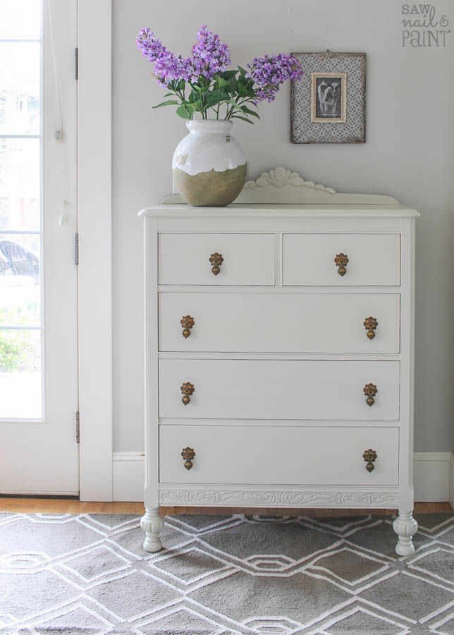 Pretty vintage dresser before and after makeover with Fusion Mineral Paint in Champlain