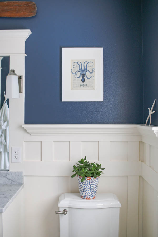 Navy blue and white bathroom saw nail and paint for Navy and white bathroom accessories