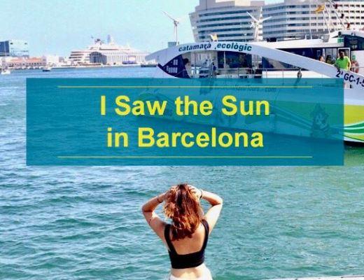 I saw the sun in Barcelona
