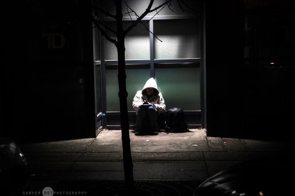Homeless in Calgary and deep in thought.