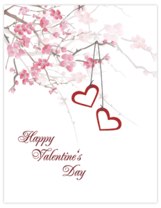 CN 28 - hearts cherry blossoms