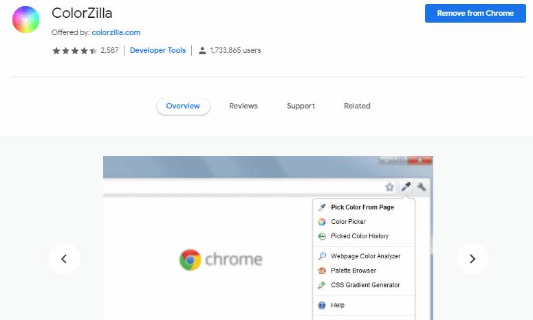 Colorzilla Chrome extension