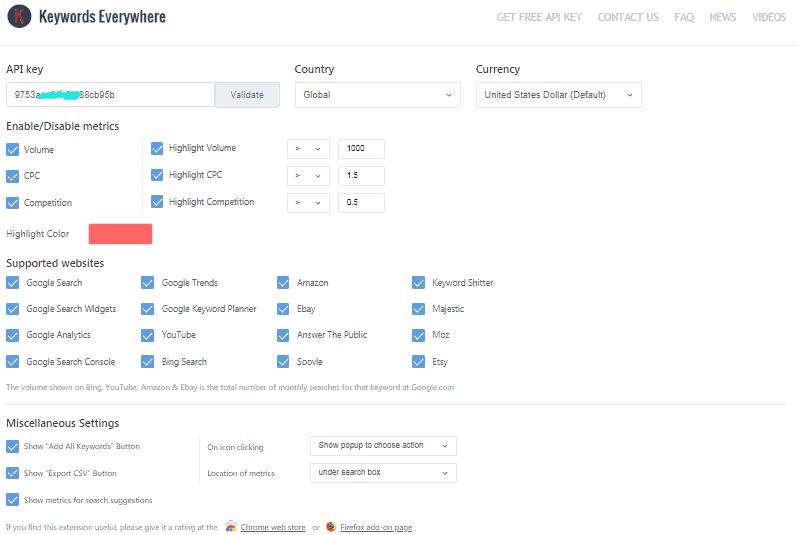 Keywords Everywhere settings