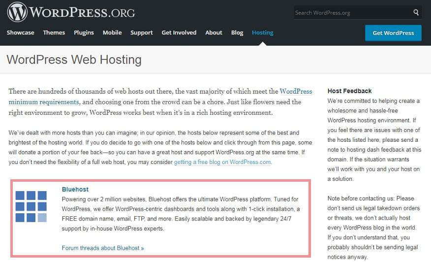 WordPress recommend Hosting Bluehost