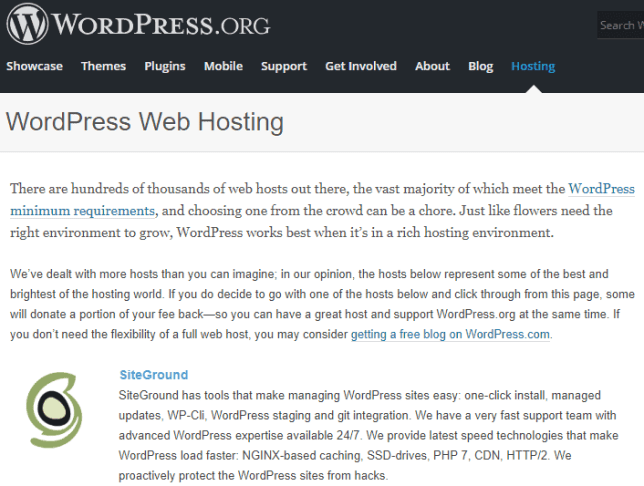 WordPress recommend Siteground