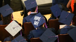 May 10, 2014 - Syracuse, New York, U.S. - A student from the Syracuse University School of Architecture wears the words 'HIRE ME' on his graduation cap during the commencement ceremony for the School of Architecture at Syracuse University in Syracuse, New York. (Credit Image: © Nicolaus Czarnecki/ZUMA24.com)