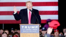 Republican presidential candidate Donald Trump speaks to the crowd in a hangar at the Richard I. Bong Airport in Superior, Wis., on Monday afternoon, April 4, 2016. Trump spoke for just under an hour and addressed his GOP opponents, foreign trade, NATO, immigration and jobs, among other topics. Bob King / rking@duluthnews.com