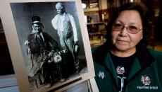 Eunice Davidson's great great great great grandfather, Chief Little Fish, was the original leader of the Spirit Lake Nation tribe.  photo by Eric Hylden/Grand Forks Herald