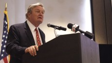 N.D. Gov. Jack Dalrymple speaks Thursday at the summit on economic growth that his office helped to host in downtown Fargo. Dave Olson/The Forum