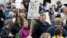 A crowd of more than 100 supporters of family farms gathered at the steps of the state Capitol in Bismarck, North Dakota 3-27-2015 for a rally supporting North Dakota small farms and protesting the recent loosening of the state's anti-corporate farming law by the legislature. The rally was organized by the North Dakota Farmers Union.
