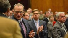 Senate Minority Leader, Mac Schneider, and Assistant House Minority Leader, Corey Mock, welcome their constituents before the State of The State Address on Tuesday, Jan 6, 2015, at the State Capitol in Bismarck, N.D. (Logan Werlinger/Grand Forks Herald)