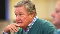 ND Gov. Jack Dalrymple talks with the Grand Forks Herald editorial board recently regarding the impact of lower oil prices on the state budget. photo by Eric Hylden/Grand Forks Herald