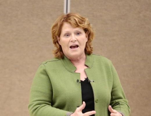 Sen. Heidi Heitkamp holds a town hall Wednesday, March 19, 2014, at Carl Ben Eielson Middle School in in Fargo, N.D. Michael Vosburg / Forum Photo Editor
