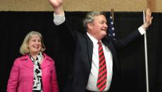 North Dakota Governor Jack Dalrymple and his wife Betsy greet the crowd Tuesday night, November 06, 2012, in Bismarck after his opponent Ryan Taylor conceded the election. Dave Wallis / The Forum