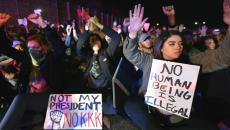 Thousands of marchers protested the election of Donald Trump Thursday, November 10th. After marching through the Cedar-Riverside and Seward neighborhoods of Minneapolis many protestors walked onto Interstate 94 where they stopped traffic nearly two hours. (Pioneer Press: Nick Woltman)