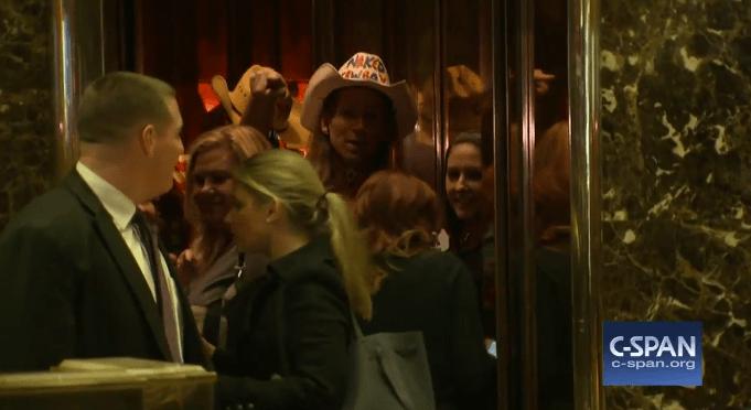 Senator Heidi Heitkamp, Naked Cowboy Ride the Elevator at