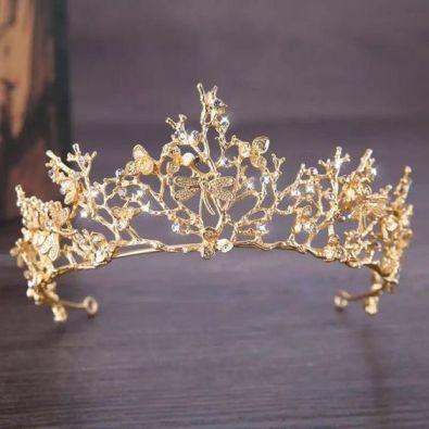 تاج العروس باللون الذهبي