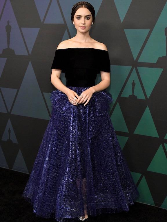 ليلي كولنز مثل الأميرات في فستان من جورج شقرا