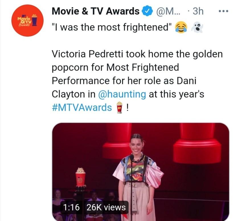 جائزة أفضل فيلم- الصورة من حساب MTV Movie & TV Awards على تويتر