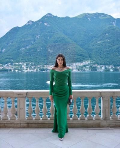 ياسمين صبري بإطلالة باللون الأخضر