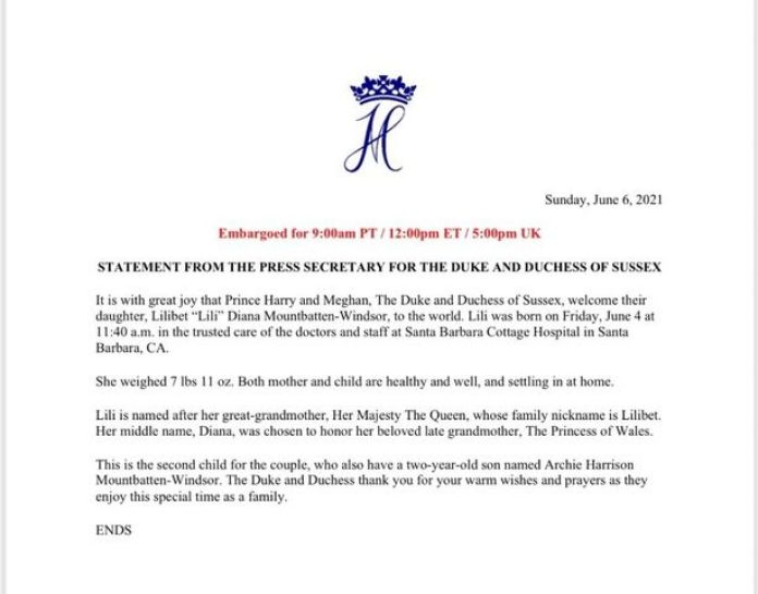 The official statement of the birth announcement on Archewell's website - Image via Mirror